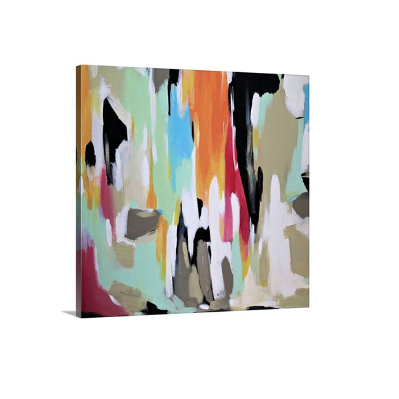 Colorful Bold Abstract Art, Framed Wall Art Canvas Print,  Orange Green Wall Decor