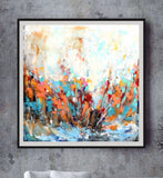 Large Abstract Art, Canvas Print, Colorful Blue And Orange Living Room Or Office Art, Square Wall Decor