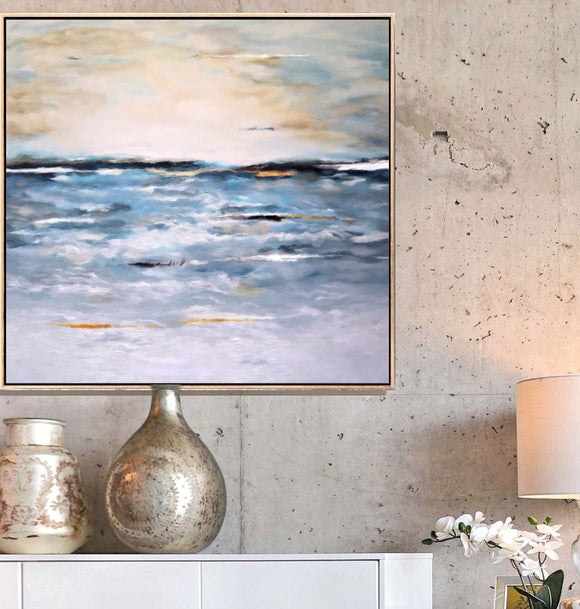 Seascape Painting Print, Large Wall Art Canvas, Over Mantel Living Room Art, Over Bed Blue Home Decor