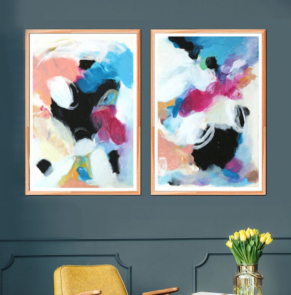 Set Of 2 Wall Art, Colorful Modern Abstract Prints, Pink Black And Blue Living Room Artwork Pair