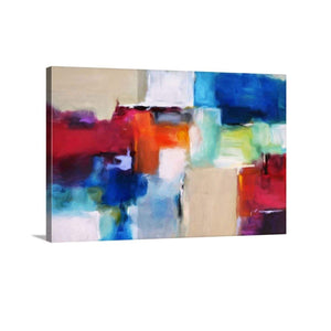 blue red abstract art, art boutique, accent decor