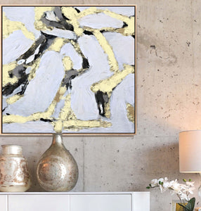 Large Abstract Art, Gray Yellow White Canvas Print, Bright Modern Home Decor