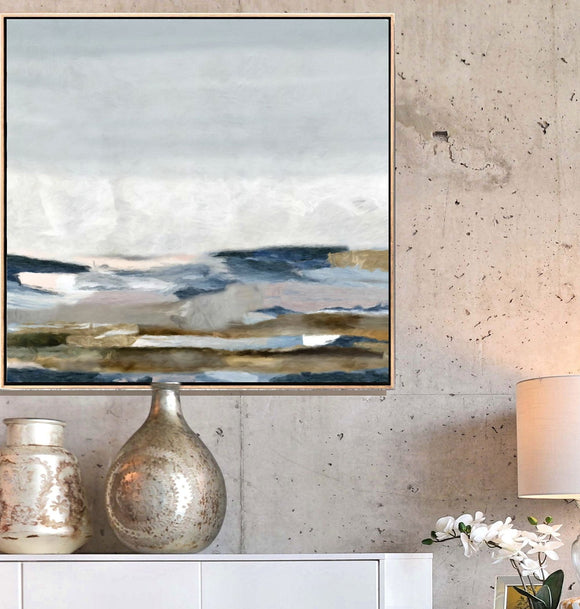 Large Abstract Landscape - Blue Gray Canvas Art, Over Mantel Large Or Small Wall Art, Gray Home Decor