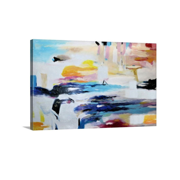 Colorful Abstract Art, Blue Orange Wall Art Canvas Print, Living Room, Office Wall Decor,  24x36