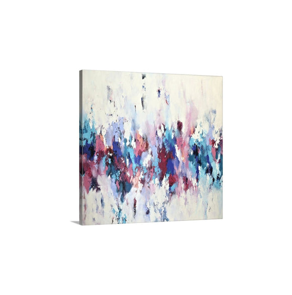 Teal Blue And Pink Abstract Art, Wall Art Print On Canvas, Bright Wall Decor, Square Artwork Ready To Hang