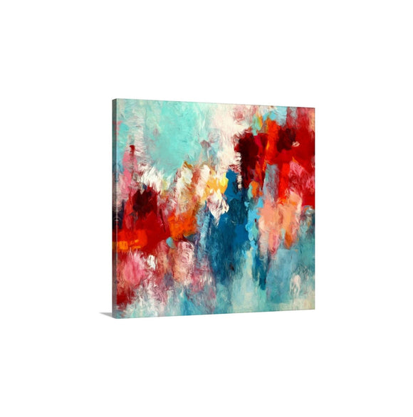 Red And Teal Abstract Art, Modern Wall Art Print, Bold Contrast Square Canvas Art
