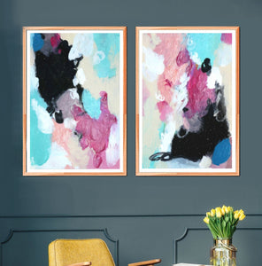 Set Of 2 Wall Art Abstract Prints, Pink And Black Living Room Bedroom Artwork Pair