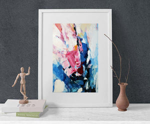 Pink And Blue Wall Art, Abstract Flower Print On Canvas, Roses Artwork 24x36, Large Or Small Abstract