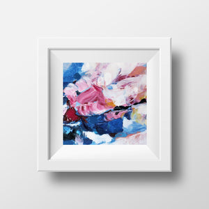 Pink Blue Wall Art, Small Abstract Art Print, Bedrom Art,  Roses, 12x12'', 30x30''