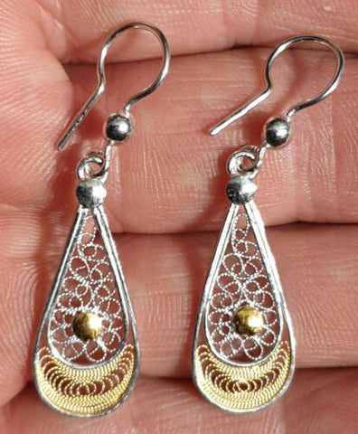 Maltese Filigree Sterling Silver Earrings with part Gold Overlay 25mm - Handmade - Charming And Trendy Ltd