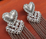 Silver Heart Diamante Chain Drop Earrings - Silver Look Costume Jewellery. - Charming And Trendy Ltd