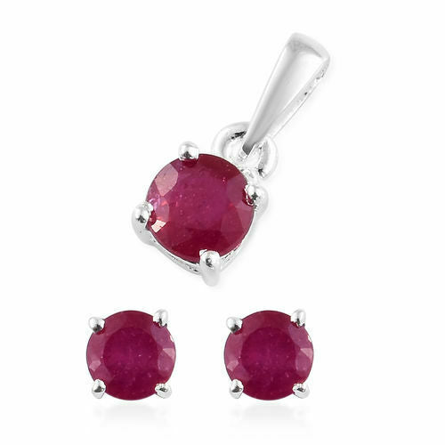 African Ruby Solitaire (1.25ct) Sterling Silver Pendant and Earring Set + 18