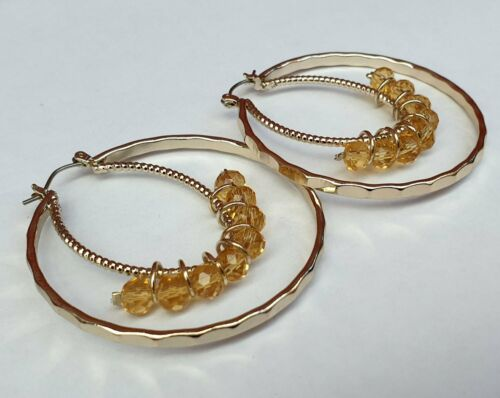 Double Hoop and Bead Earrings - Fantastic Gold Look Costume Jewellery - Charming And Trendy Ltd