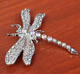 Crystal Dragonfly Brooch - Fantastic Silver Look Costume Jewellery - Charming And Trendy Ltd