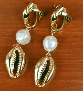 Twist and Cast Shell Drop Earrings - Fantastic Gold Look Costume Jewellery. - Charming And Trendy Ltd
