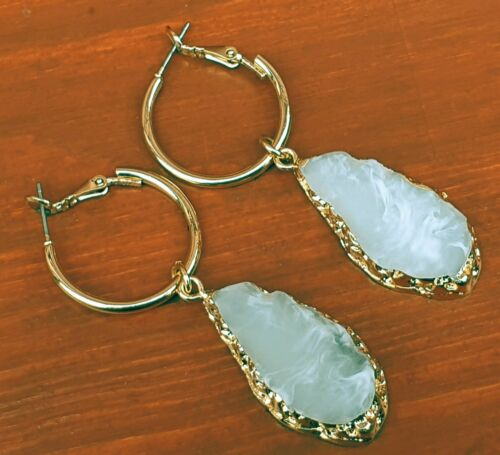 Agate Effect Stone Drop Earrings - Charming And Trendy Ltd