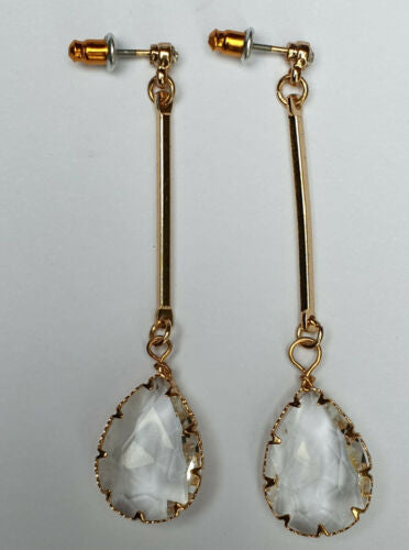 Crystal Dangle Teardrop Earrings - Fantastic Gold Look Costume Jewellery. - Charming And Trendy Ltd
