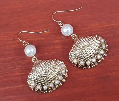 Gold Shell and Pearl Drop Earrings - Fantastic Gold Look Costume Jewellery.