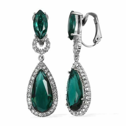 Emerald and White Austrian Crystal Drop Earrings - Charming And Trendy Ltd
