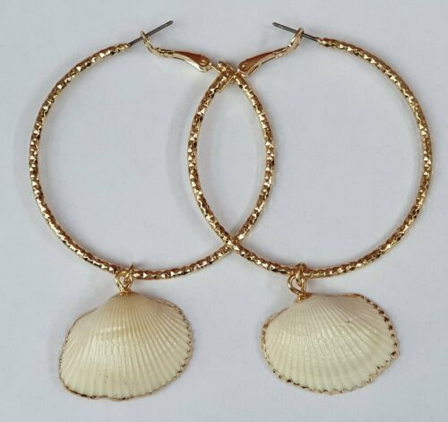 Gold Edge Natural Shell Charm Drop Hoop Earrings