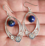 Maltese Filigree Sterling Silver Earrings with Lapis Lazuli Gemstones - Handmade - Charming And Trendy Ltd