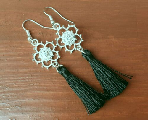 Silver Rosette Flower and Black Tassle Earrings - Silver Look Costume Jewellery - Charming And Trendy Ltd