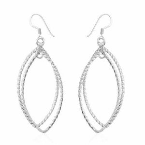 Twisted Texture Sterling Silver Hook Earrings. - Charming And Trendy Ltd