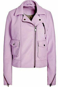 Lilac cropped PU Biker/Bomber Jacket (RRP £60) - Top High Street Brand - Charming And Trendy Ltd