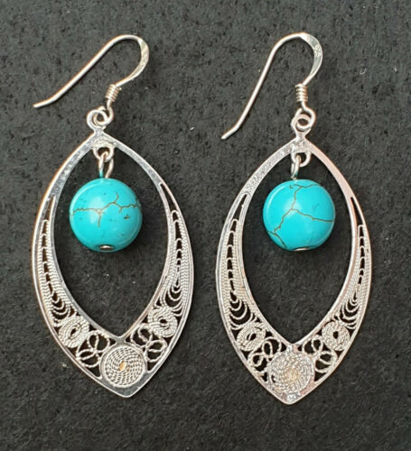 Maltese Filigree Sterling Silver Earrings with Turquoise Stones - Handmade - Charming And Trendy Ltd
