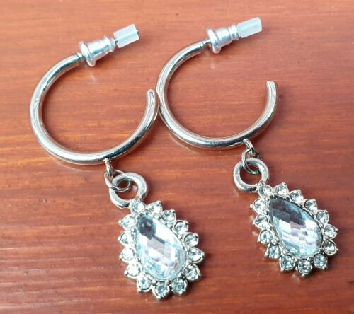Pretty Stone Drop Hoop Earrings - Fantastic Silver Look Costume Jewellery - Charming And Trendy Ltd