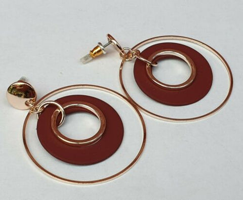 Metal and Colour Circle Drop Earrings - Fantastic Gold Look Costume Jewellery - Charming And Trendy Ltd