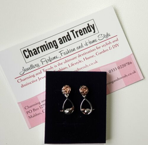 Robin Dangle Earrings in Rose Gold and Platinum Overlay Sterling Silver - Charming And Trendy Ltd