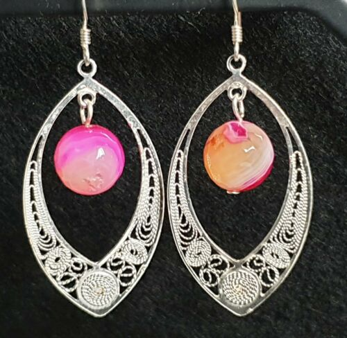 Maltese Filigree Sterling Silver Earrings with Pink Agate Gemstones - Handmade - Charming And Trendy Ltd