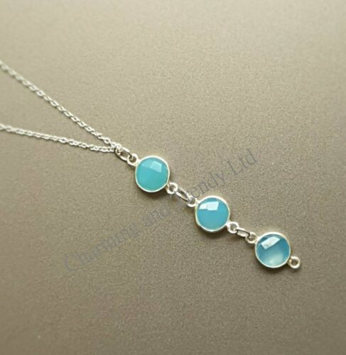 Natural Aquamarine 3 Gem Sterling Silver Necklace - Charming And Trendy Ltd