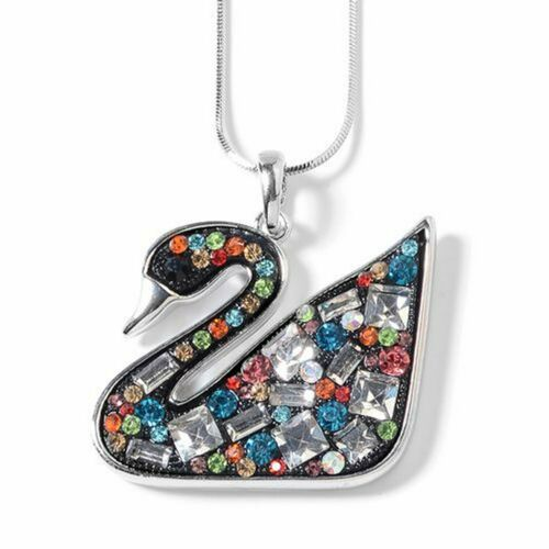Simulated Diamond, Multi Colour Austrian Crystal Swan Pendant with Chain - Charming And Trendy Ltd