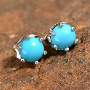 Turquoise Solitaire (1ct) Stud Earrings in Platinum Overlay Sterling Silver - Charming And Trendy Ltd