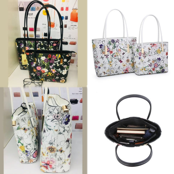 Colourful Handbag/Shoulder Tote Bag - Floral Print. - Charming And Trendy Ltd