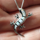"White Opal Gecko Sterling Silver Pendant with 18"" Chain CT9030"