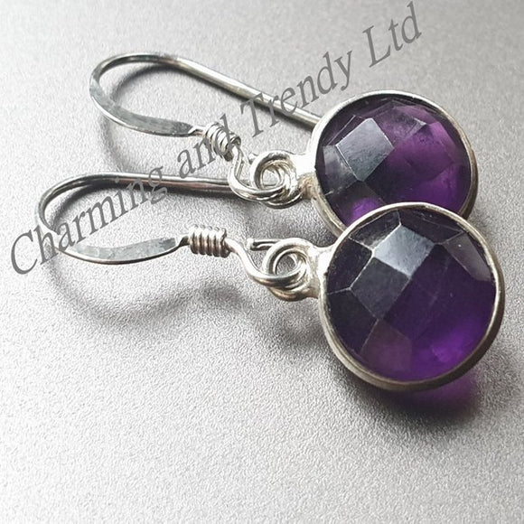 Amethyst (Purple Quartz) Sterling Silver Hook Earrings - Charming And Trendy Ltd