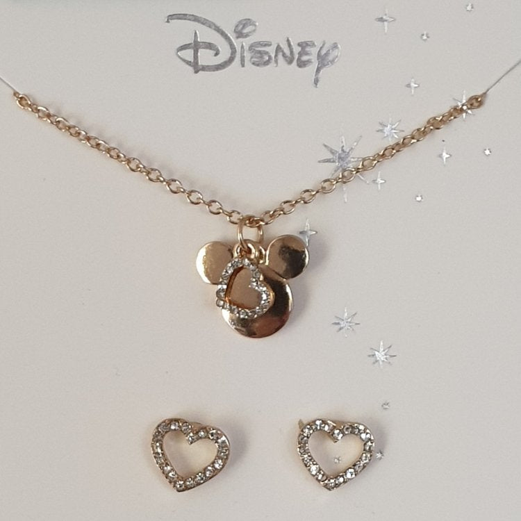 Disney Mickey Mouse Necklace and Heart Stud Earrings - Charming And Trendy Ltd