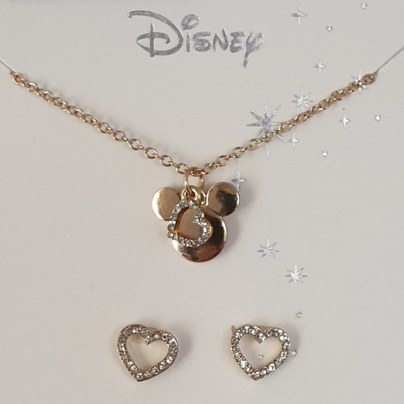 Disney Mickey Mouse Necklace and Heart Stud Earrings CT0254