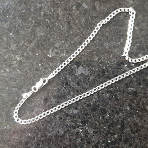 "925 Sterling Silver 2.95mm Diamond-Cut Curb Chain - 22""/55cm - Charming And Trendy Ltd"