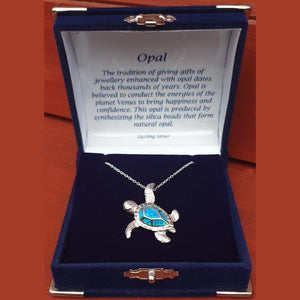 "Turtle Opal Blue Sterling Silver Pendant with 18"" Chain - Gift Box - Charming And Trendy Ltd"