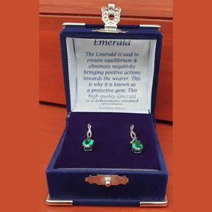 Emerald Pear Twist Sterling Silver Stud Earrings (Boxed) - Charming And Trendy Ltd