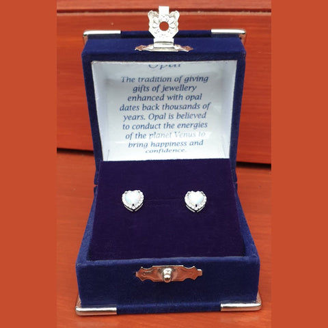 Snow Opal Heart CZ Sterling Silver Stud Earrings - Gift Boxed - Charming And Trendy Ltd