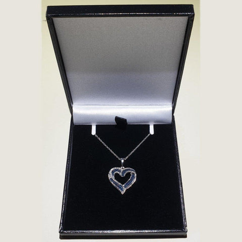 "Blue & White Diamond Heart Pendant, Platinum Overlay Sterling Silver & 18"" Chain - Charming And Trendy Ltd"