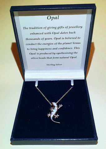 "White Opal Gecko Sterling Silver Pendant with 18"" Chain - Gift Box - Charming And Trendy Ltd"