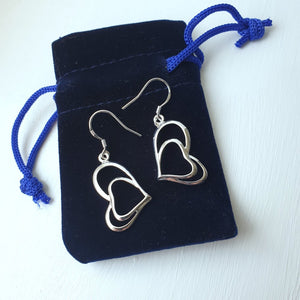 Silver Plated Double Heart Dangle Drop Earrings with Stiling Silver Hooks - Charming And Trendy Ltd