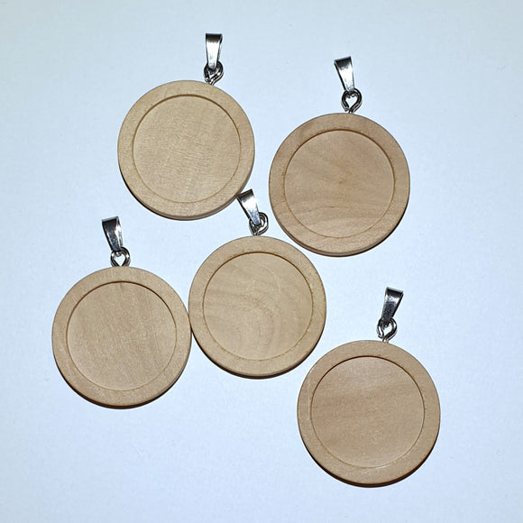 5pcs Wood Pendant Blank Cabochons Trays with Stainless Steel Hook - Charming And Trendy Ltd