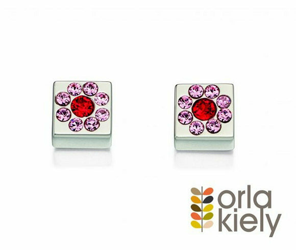 Orla Kiely Sterling Silver Swarovski Flower Cube Stud Earrings - E5224 - RRP £65